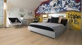 Landhausdiele massiv Eiche - Eleganz 15% weiß geölt 15 x 130 x 400 - 1800 mm