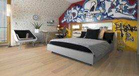 Landhausdiele massiv Eiche - Eleganz 15% weiß geölt 20 x 180 x 500 - 2000 mm
